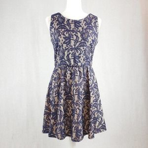 Three Hearts A Line blue Lace Overlay dress L